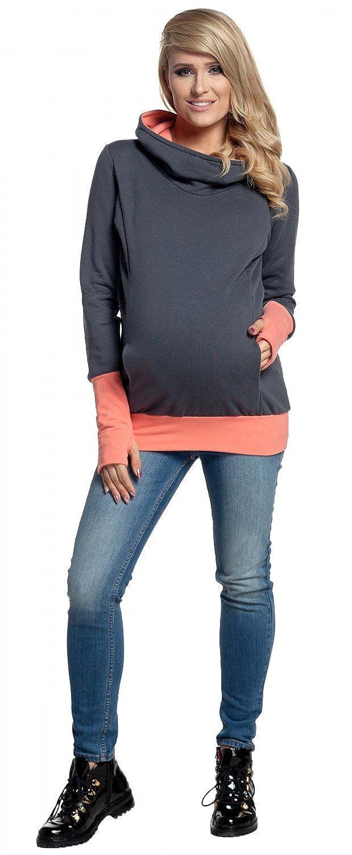 330p Womens Nursing Hoodie Breastfeeding Contrast Detail Maternity HAPPY MAMA