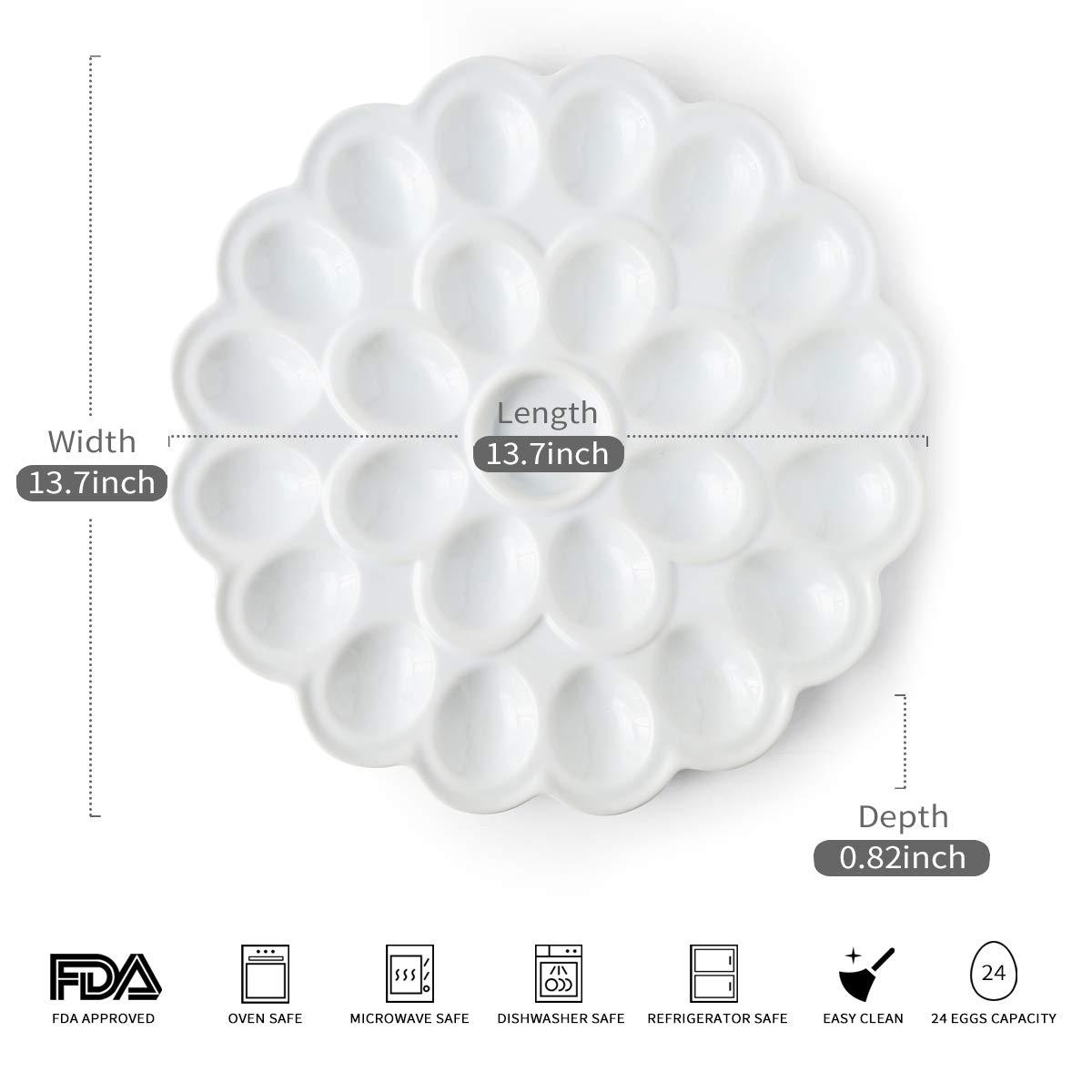 13.5-inch Porcelain Deviled Egg Tray/Dish White Ceramic Egg Platter with 25-Compartment by LAUCHUH (Image #2)