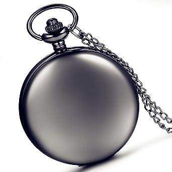 Moderne taschenuhr  lancardo glatt Metall schwarz Fall Weiß Zifferblatt arabische ...