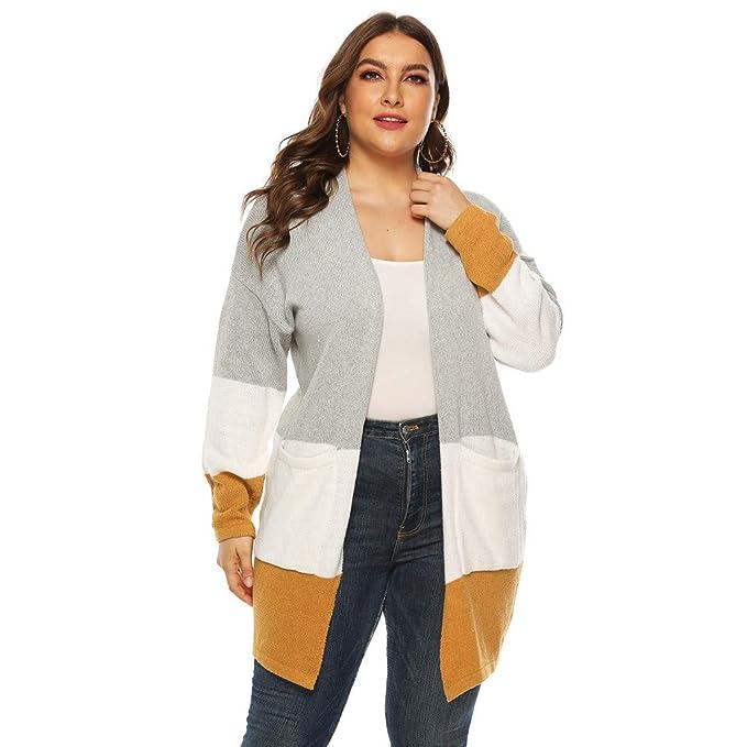 Amazon.com: JSPOYOU - Chaqueta de punto para mujer, talla ...