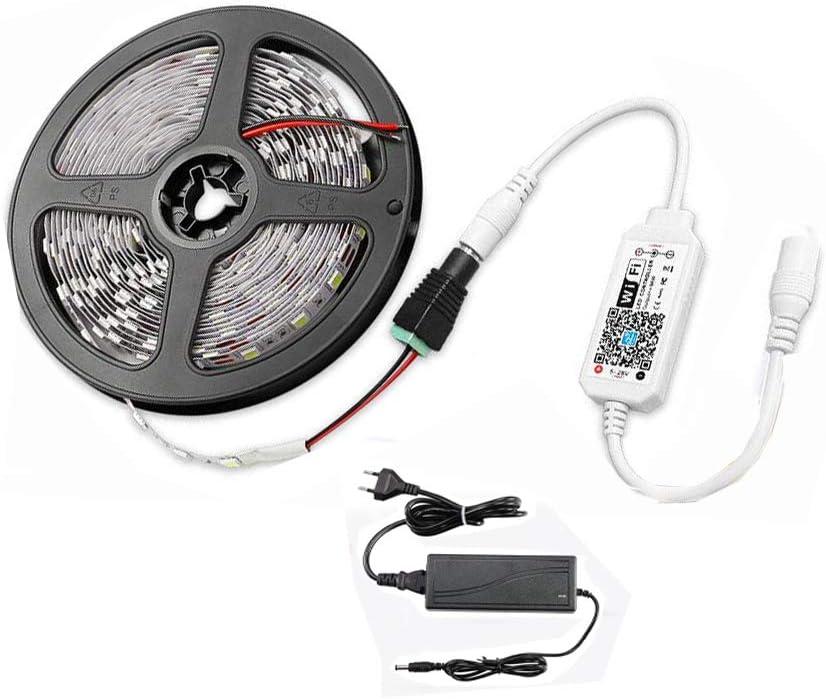 Tira de luces LED de 5 m, 300 ledes, con fuente de alimentación de 3 A, 2835SMD, 3000 K, luz blanca cálida, con aplicación controlada con Alexa