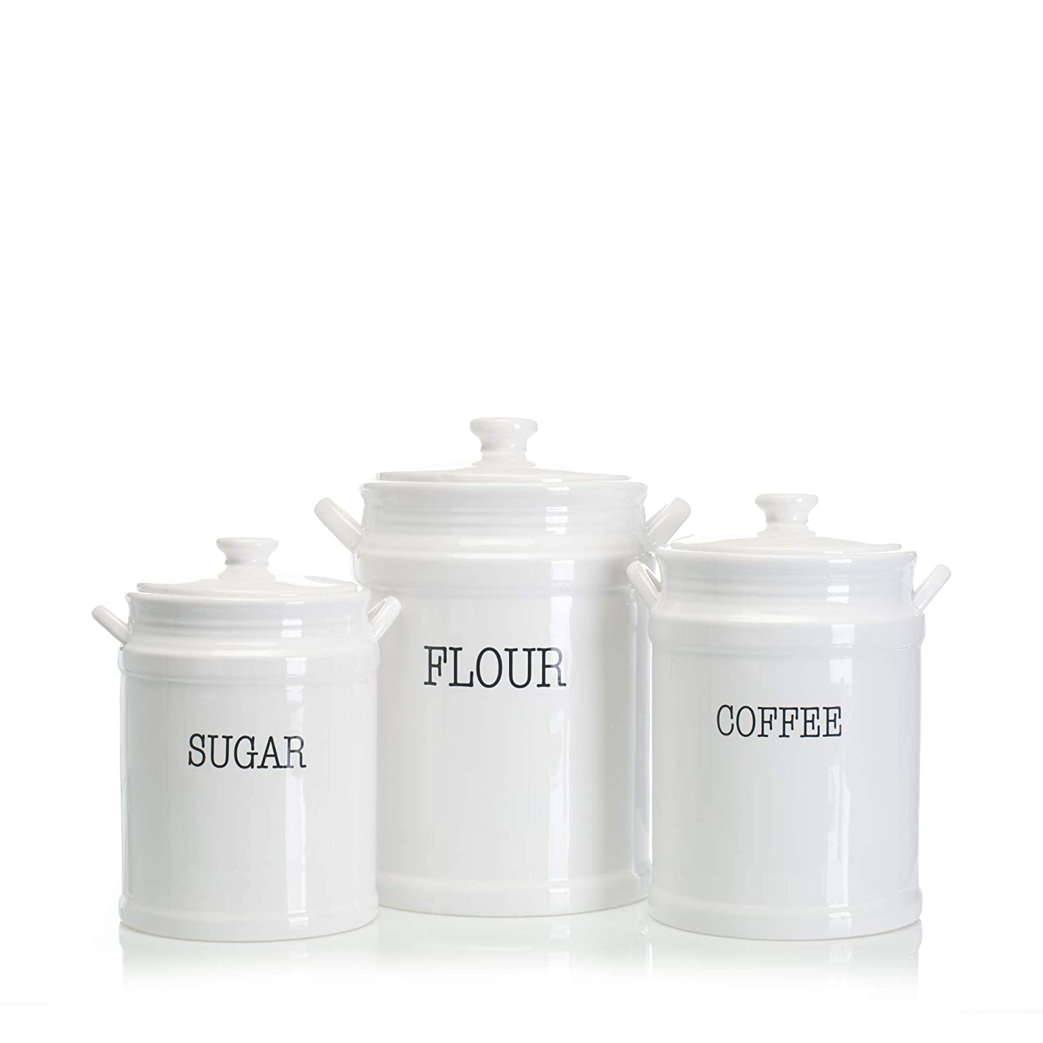 Home Essentials Fiddle & Fern Set Of 3 Prep Canisters With Handles