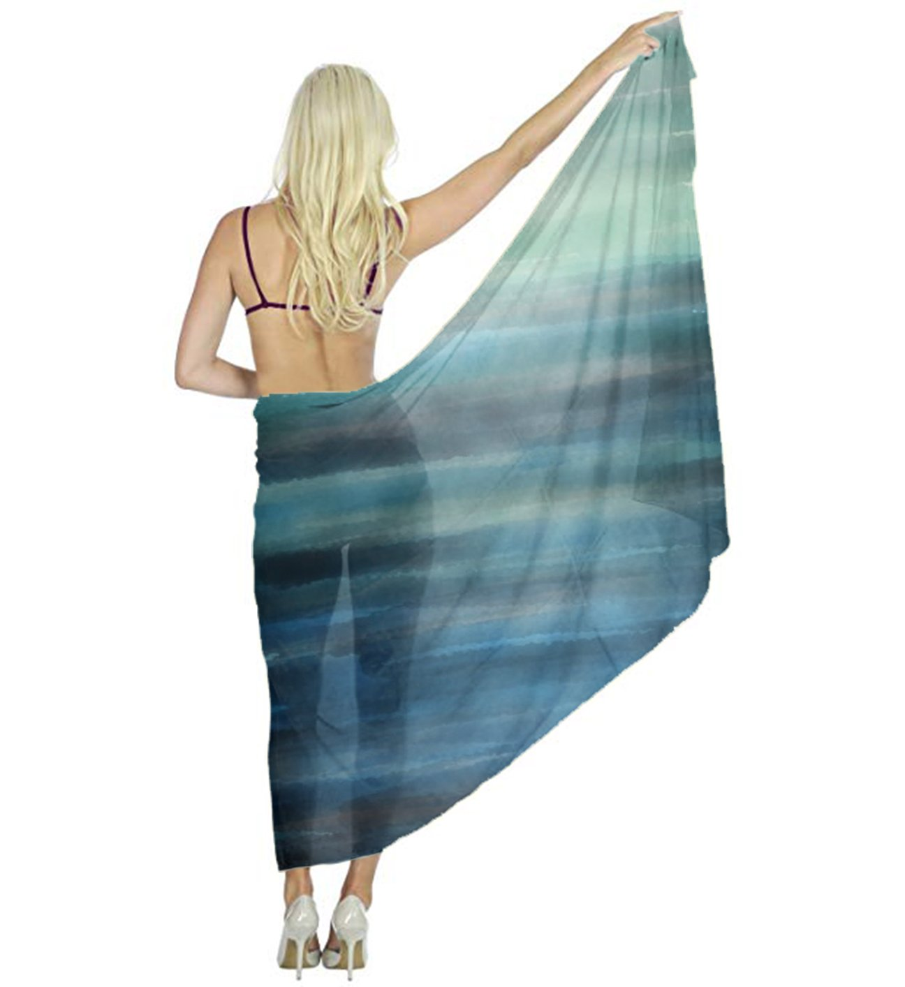 Aqua Teal Blue Sea Ocean Ombre Watercolor Scarf for Evening Dresses, Wedding Shawl Wrap for Women