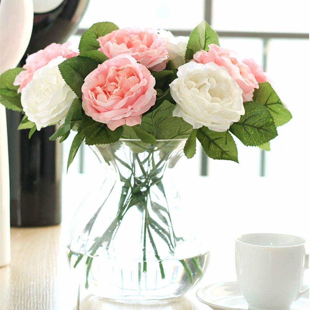 Amazon CQURE Artificial FlowersFake Flowers Silk 6 Heads Roses Wedding Bouquet Flower Arrangement For Home Decor Party Centerpieces Decoration Pink