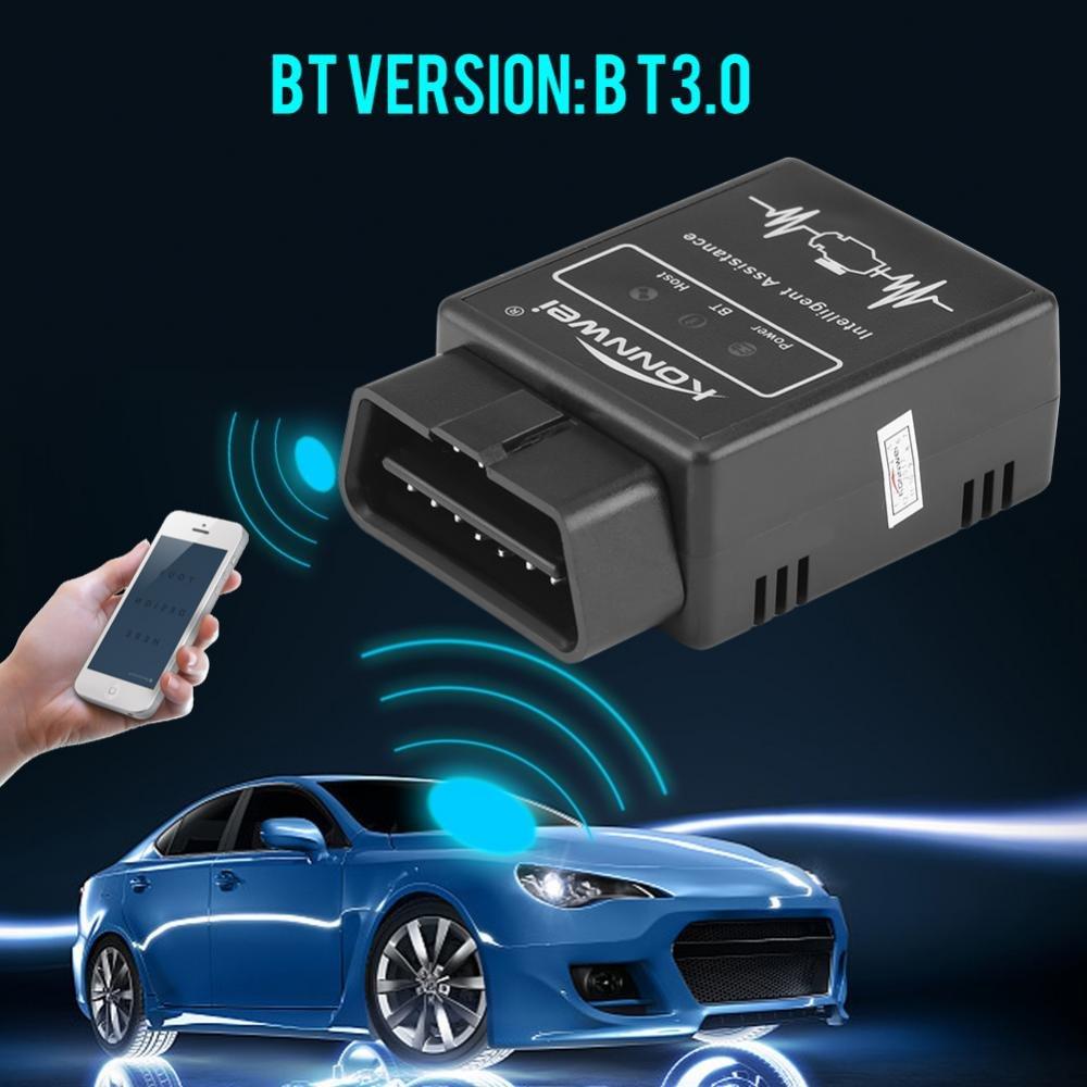 KIMISS KI06901 Konnwei KW912 BT3.0 OBD2 Auto Scanner diagnostico tester e Fault Scanner Tool nero mentale per Android.