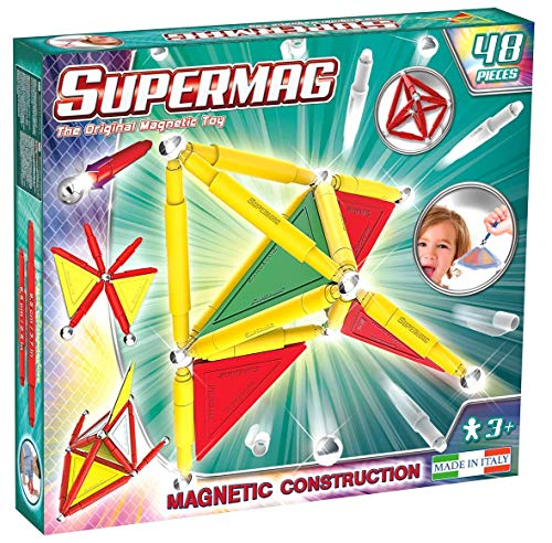 Supermag 3D Magnetic Tiles are New Advanced Magnetic Building Blocks for Kids in Vibrant Colors Compatible with All Rod and Ball Magnetic Sets 48 Piece Set from Supermag