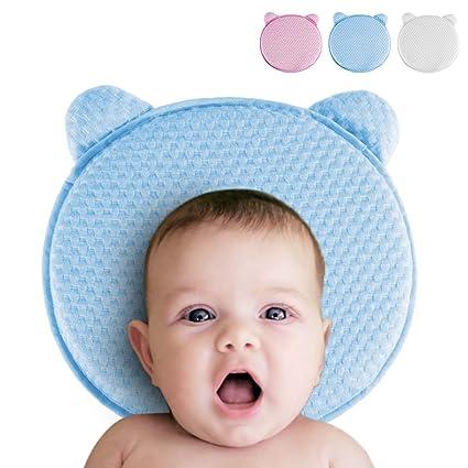 Koala Babycare® Cuscino Neonato Plagiocefalia Sfoderabile (con due Federe) per la Prevenzione e Cura della Testa Piatta in Memory Foam Antisoffoco - Blu - Design Registrato KBC®