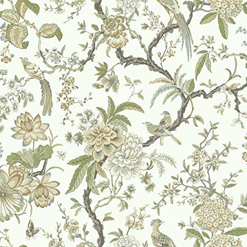 (AD1200 Green Tan Birds and Floral Asian Toile Wallpaper)