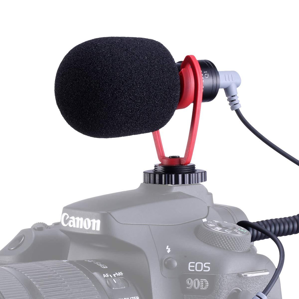 SAIREN VM-Q1 Shotgun Video Microphone, Compact On-Camera Recording Mic, with Shock Mount DeadCat Windscreen, Universal for iPhone Samsung Smartphone; Sony/Canon/Nikon Camera; DJI OSMO Mobile 3 Gimbal