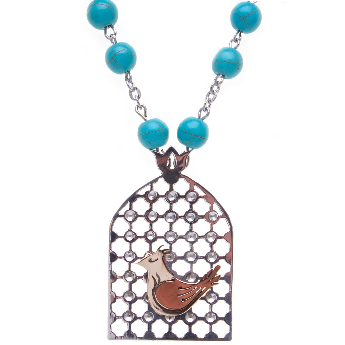 14K Gold Sterling Silver 999 Morghe Amin Necklace Iranian Persian Sharzad Morgh Love Bird Iran Art (Necklace, Earrings, Bracelet) by Asoodehdelan (Image #1)