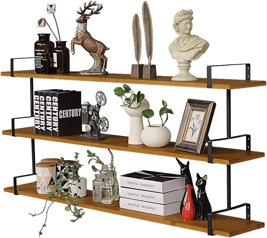 3 Tier Industrial Wall Shelf, Rustic Pipe Shelving Unit, Vintage Decorative Accent Wall Mounted Shelves for Bedroom, Living Room, Bathroom, Kitchen, Office and More