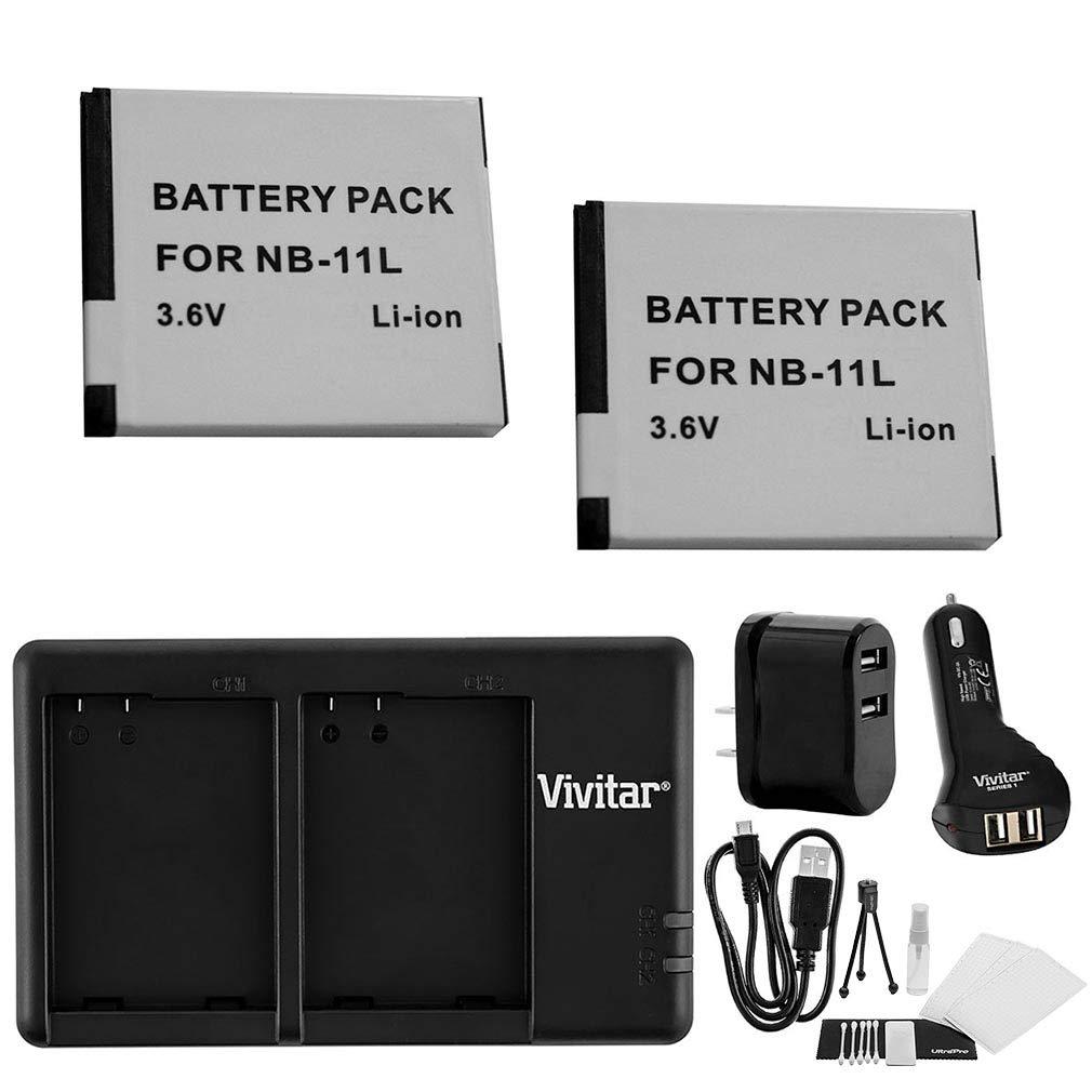 NB - 11l/NB - 11lh急速デュアルバッテリーUSB充電器W/AC &自動プラグ。もIncludes 2 - pk大容量交換用電池とUltrapro Accessoryバンドル:クリーニングキット、スクリーンプロテクター、ミニ三脚 B013J7HLU2