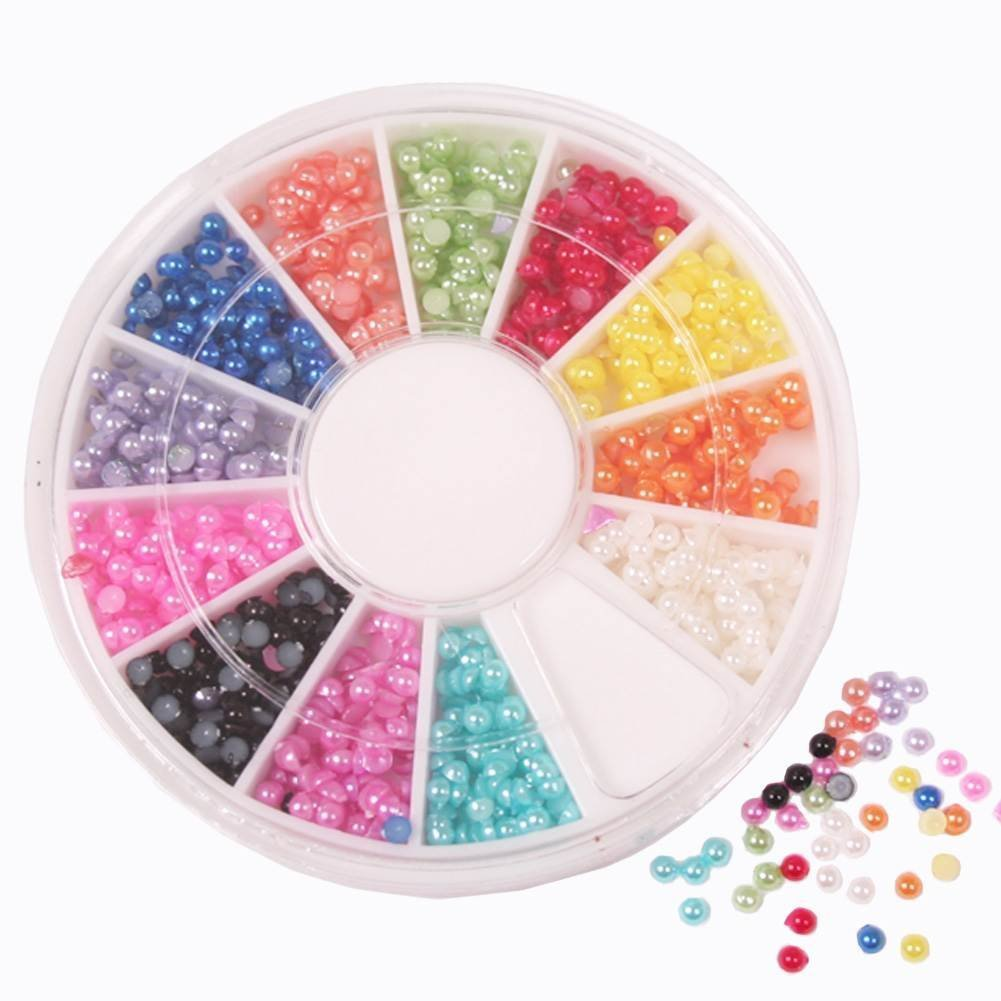 Generic 1300pcs 12 Color Half Baby Pearls Nail Decoration Wheel 3d Design Professional Nail Salon Islandoffer