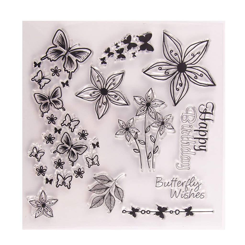 album di ritagli llwei258 per fai da te decorazioni artistiche Timbro in silicone trasparente a forma di farfalla e fiore