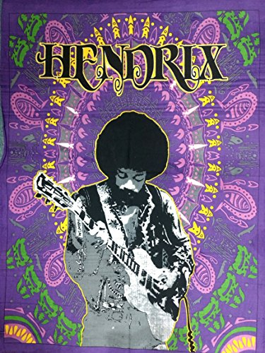 Indian Craft Castle ICC Jimi Hendrix Guitar Poster 30x40 Decoration Jimmie Hendrix Classic Rock Legend Music Bohemian Psychedelic Hippie Tapestry (Hendrix) Purple