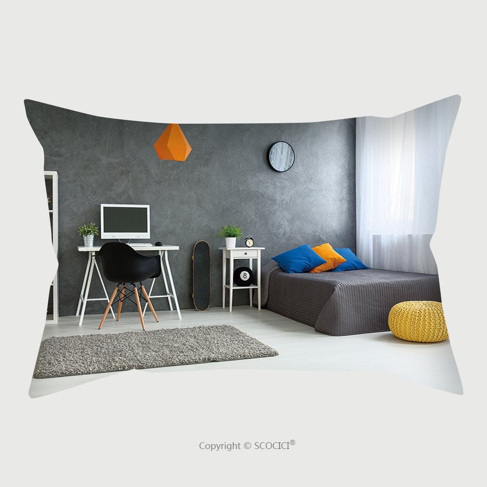 Custom Satin Pillowcase Protector Cozy Stylish Bedroom Designed For Teenage Boy Grey Walls And Wooden Floor On The Wall Skate Board 425624494 Pillow Case Covers Decorative