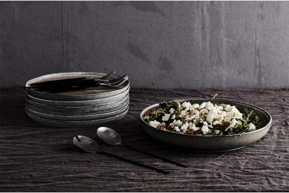 Gem/üse a Kartoffeln u noTrash2003 edles Salatbesteck aus Edelstahl Salatl/öffel und Salatgabel mit schwarzen Griffen f/ür Salate