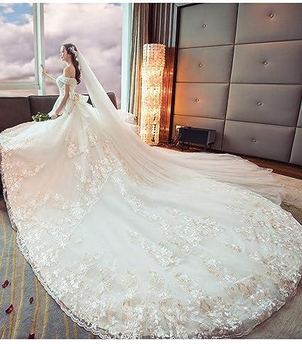 c624f6d6e WJF Vestido De Novia Blanco Palabra Delgada Hombro Flor De Lujo Moda  Princesa Sueño Vestido De