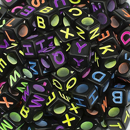 600 Pieces 6mm DIY Black Colorful Acrylic Alphabet Letter Cube Beads for jewelry making, DIY Bracelets, Necklaces,Childrens Educational Toys, Key Chains and Childrens Educational Toys (Black)