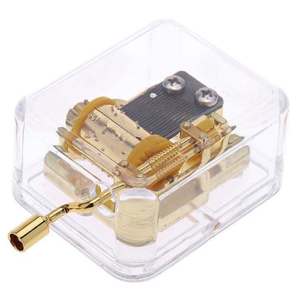 Acrylic Hand Crank Gurdy Gold Movement Mechanism Music Box Wedding Valentine Christmas Birthday Gift You Are My Sunshine Goodangie00