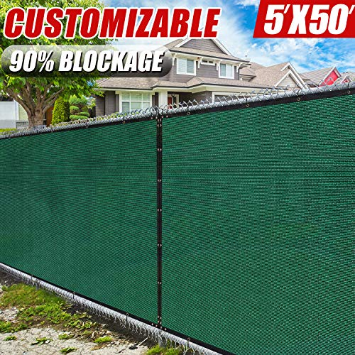 (Amgo 5' x 50' Green Fence Privacy Screen Windscreen,with Bindings & Grommets, Heavy Duty for Commercial and Residential, 90% Blockage, Cable Zip Ties Included, (Available for Custom Sizes))