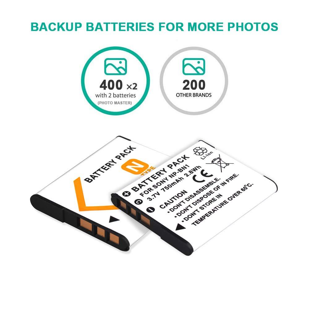 Rechargeable Li-ion NPBN1 Battery for Sony Cyber-Shot DSC-W830,DSC-WX220,DSC-W800,DSC-WX200,DSC-W810,DSC-QX30,DSC-QX100,DSC-QX10,TX30 Digital Cameras PHOTO MASTER 2x NP-BN1 Battery