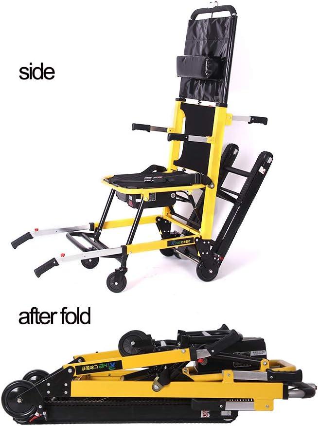 LICHANGSHENG Ancianos Inteligente Plegable de Las Personas con discapacidad Escalador subiendo y bajando escaleras Ligera automática escaleras Silla de Ruedas eléctrica,Oro