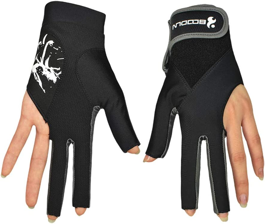 Honeytecs Pool Cue Gloves Billiard Three Cut Gloves Left Hands Gloves Billiard Accessories