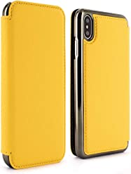 cc1c2644022914 Greenwich Handmade Luxury Leather BLAKE Folio Case with Card Pocket for iPhone  XS Max in Canary