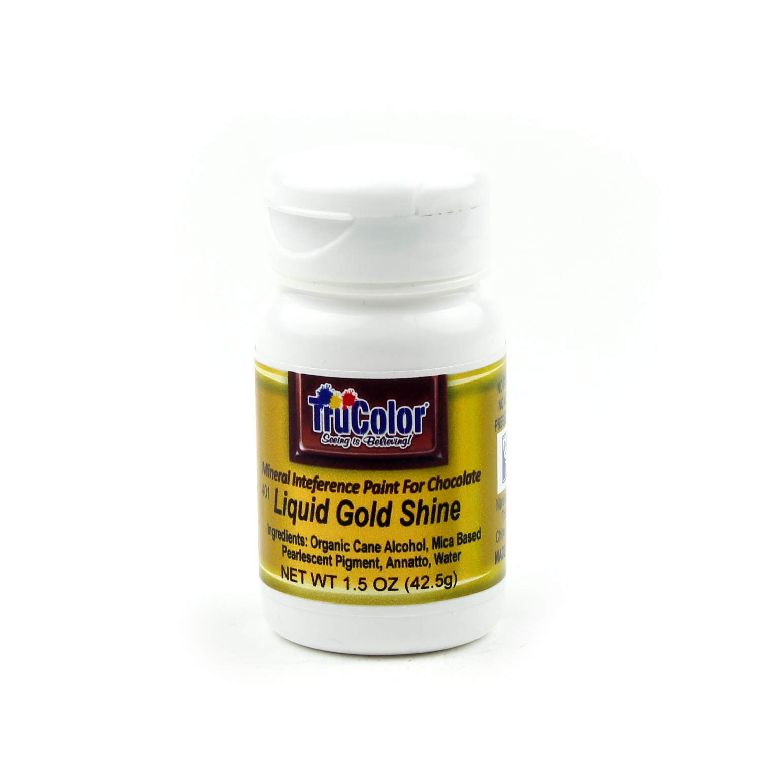 TruColor Liquid Shine 100-Percent-Natural Metallic Gold Food Color Paint, 42.5 Grams