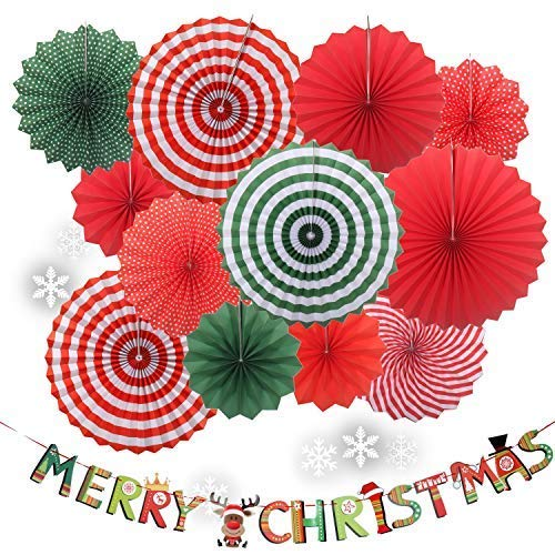 (Yunison Christmas 12pc Paper Fan Party Decorations Kit DIY Ceiling Hanging Paper Fans, Merry Christmas Party Banner, 27pc Kawaii Snowflake Window Sticker Xmas Holiday Decor Supplies)
