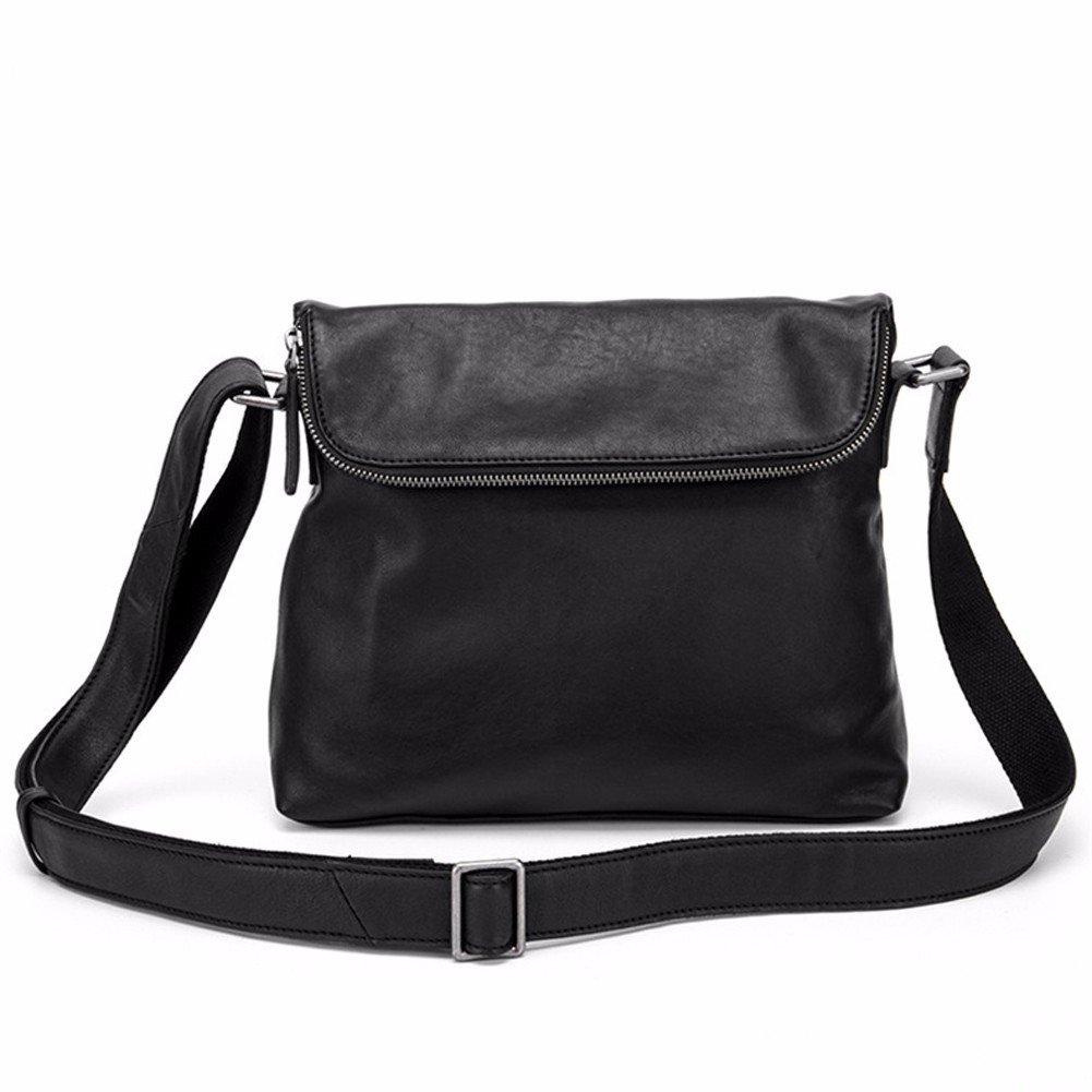 NHGY Men's single shoulder bag, 8 inch leather leisure horizontal section, zipper wear, multi-functional Retro Black single shoulder bag