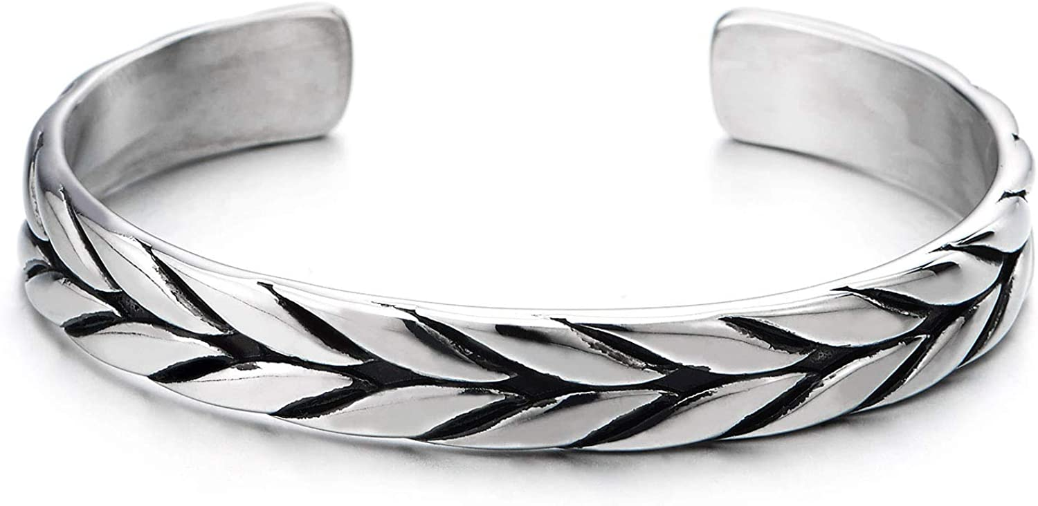 COOLSTEELANDBEYOND Exquisite Stainless Steel Braided Pattern Cuff Bangle Bracelet for Men Women, Adjustable