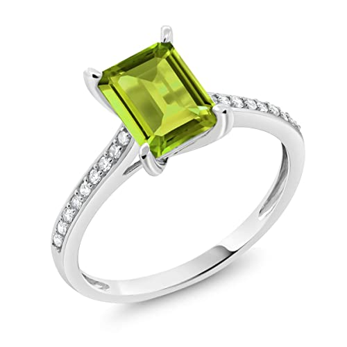 a03d8d70c 10K White Gold Green Peridot and White Diamond Women's Engagement Ring 1.78  Ct Emerald Cut (
