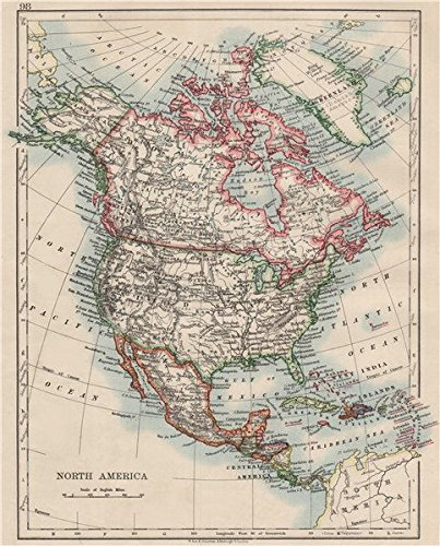 Map Of Canada 1900.Amazon Com North America Political Greenland Danish America Usa
