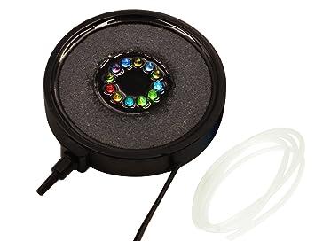 coidea tanque de peces de acuario cortina de aire Bubbler Disco Generador de burbujas Bubble Air Stones con 12 Multicolor Underwater LED que cambia de ...