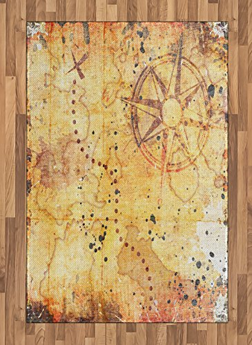 (Ambesonne Island Map Area Rug, Antique Treasure Map Grunge Rusty Style Parchment Print History Theme Boho Design, Flat Woven Accent Rug for Living Room Bedroom Dining Room, 4 X 5.7 FT, Beige)