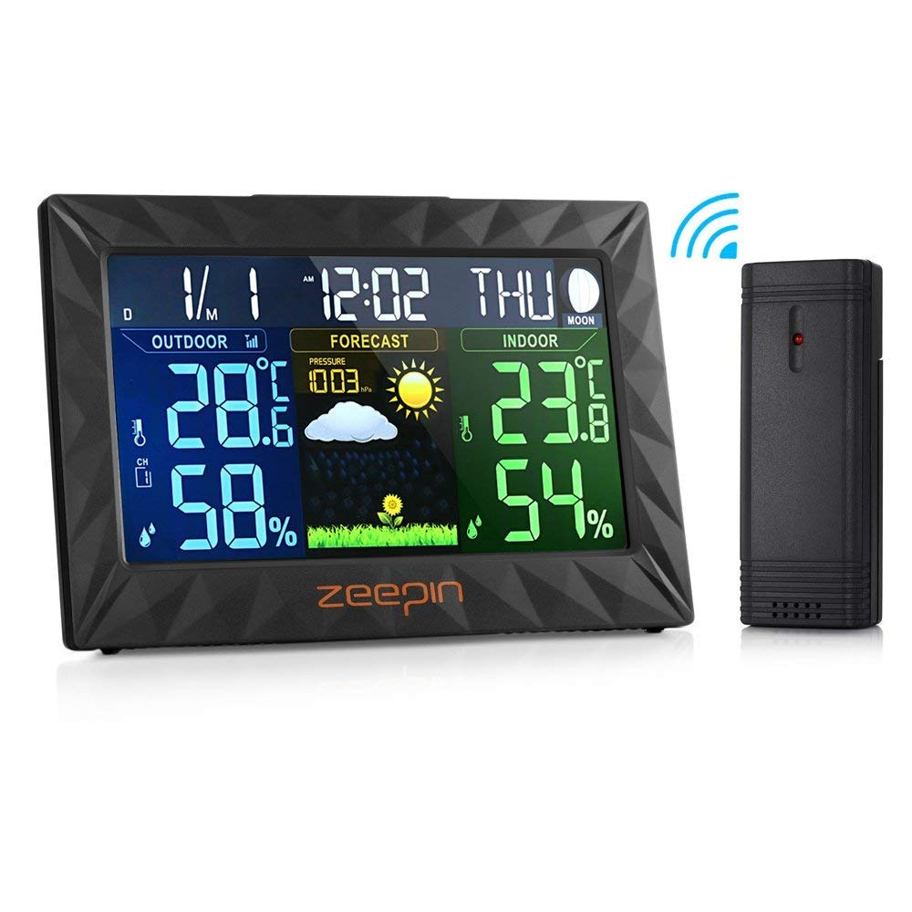 ZEEPIN Outdoor Temperature Humidity Monitor Receiver for TS Receiver Only Y01 Forecast Weather Station Alarm Clock