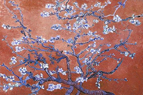 buyartforless Canvas ''Almond Blossoms Imitation Coffee Frozen Blue Splash'' By Kelissa Semple Gallery Wrap Pop Art in Bright Colors, 36'' X 24''