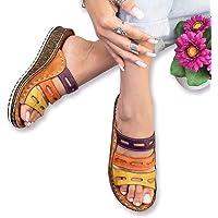 GF shoes Sandalia de Costura Tricolor de Mujer