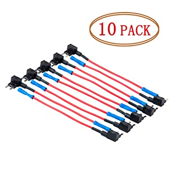 DEDC Blade Fuse Tap Mini Fuse Holder 10 Pack Universal 16 Gauge Add-a-circuit Fuse Holder Tap Adapter With 10 Mini Fuses 15AMP