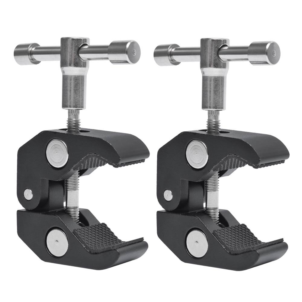 Fotoconic Super Clamp Clip with 1/4''-20 and 3/8''-16 Thread for Cameras, Flash Light, Strobe, Umbrellas, Hooks, Shelves, Plate Glass, Crossbar [2-Pack]