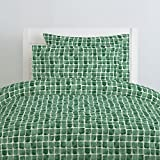 Carousel Designs Green Watercolor Squares Duvet Cover Queen/Full Size - Organic 100% Cotton Duvet Cover - Made in The USA