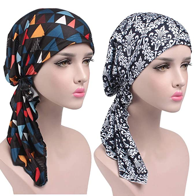 1d76d34b76b Womens Chemo Hat Beanie Pre Tied Head Scarf Turban Headwear for Cancer  Patients (2pack Printed Navy+Black Triangle) at Amazon Women s Clothing  store