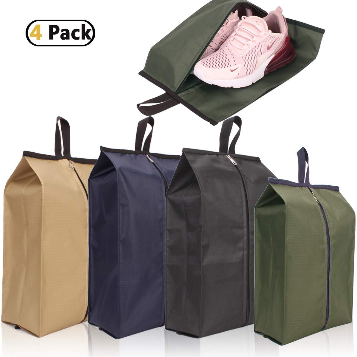 Achiou Travel Shoe Bags Thick 4 Colors Mix Stereoscopic Dustproof Portable Waterproof with Zipper for Men and Women