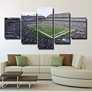 SDFFD Canvas Picture 5 Pieces Wall Art - Ready to Hang - Modern Wall Art Print Decor - Image Printed - Art On Canvas Baltimore Ravens Court M&T Bank Stadium Art Print Images