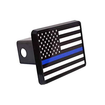 Thin Blue Line Flag Trailer Hitch Cover Plug US Blue Lives Matter Police Officer Law Enforcement: Automotive