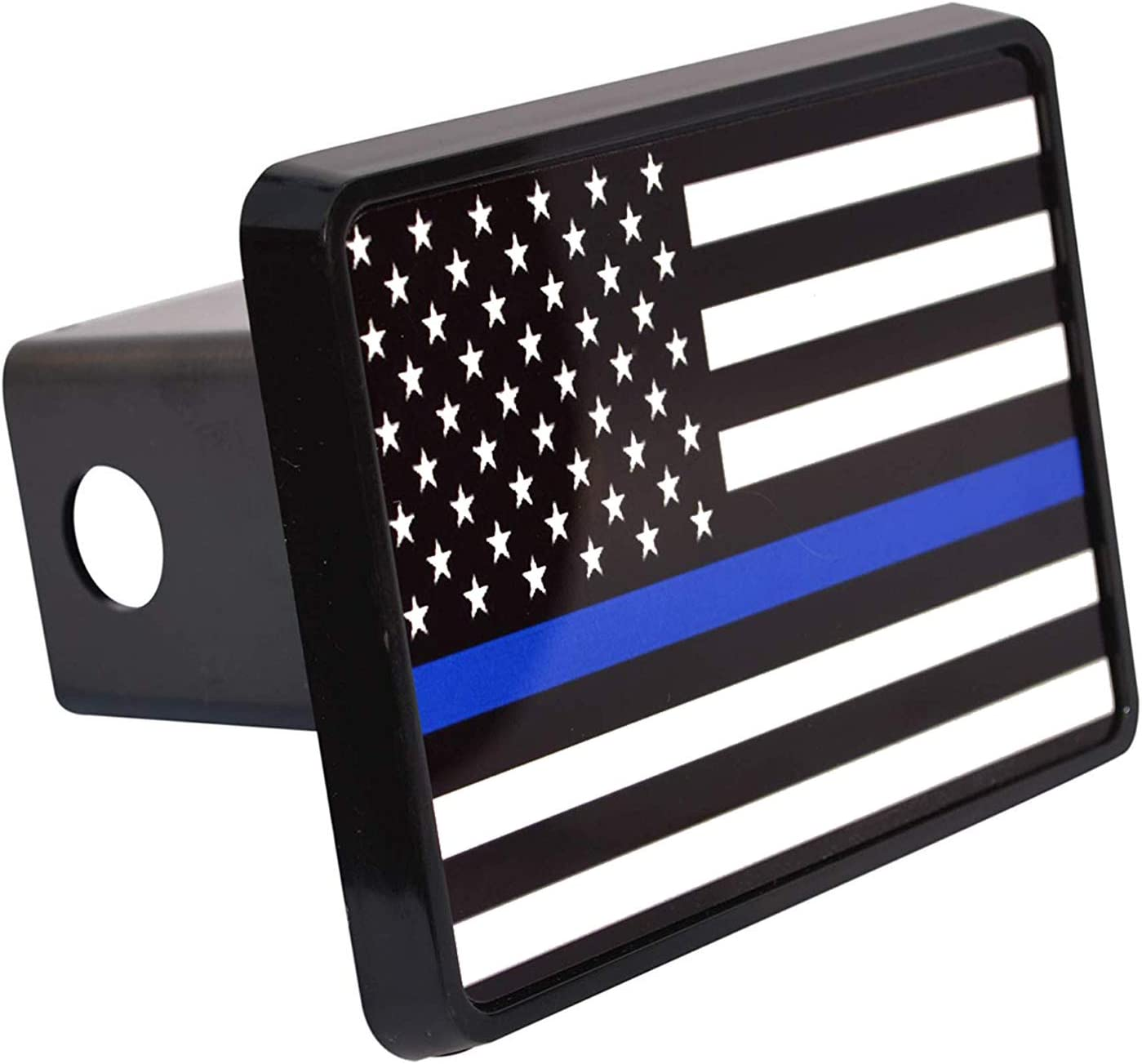 Thin Blue Line Flag Trailer Hitch Cover Plug US Blue Lives Matter Police Officer Law Enforcement