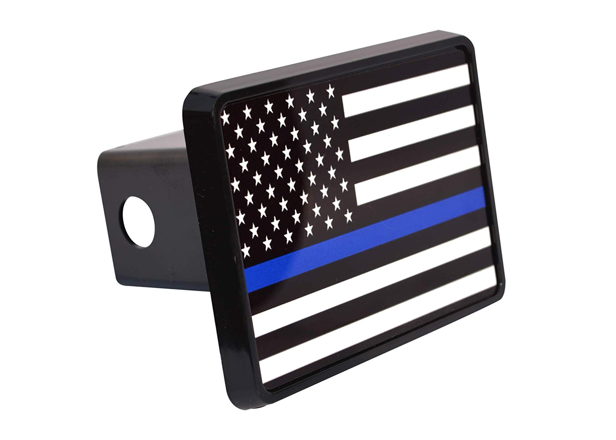 Thin Blue Line Flag Trailer Hitch Cover Plug US Blue Lives Matter Police Officer Law Enforcement by Rogue River Tactical