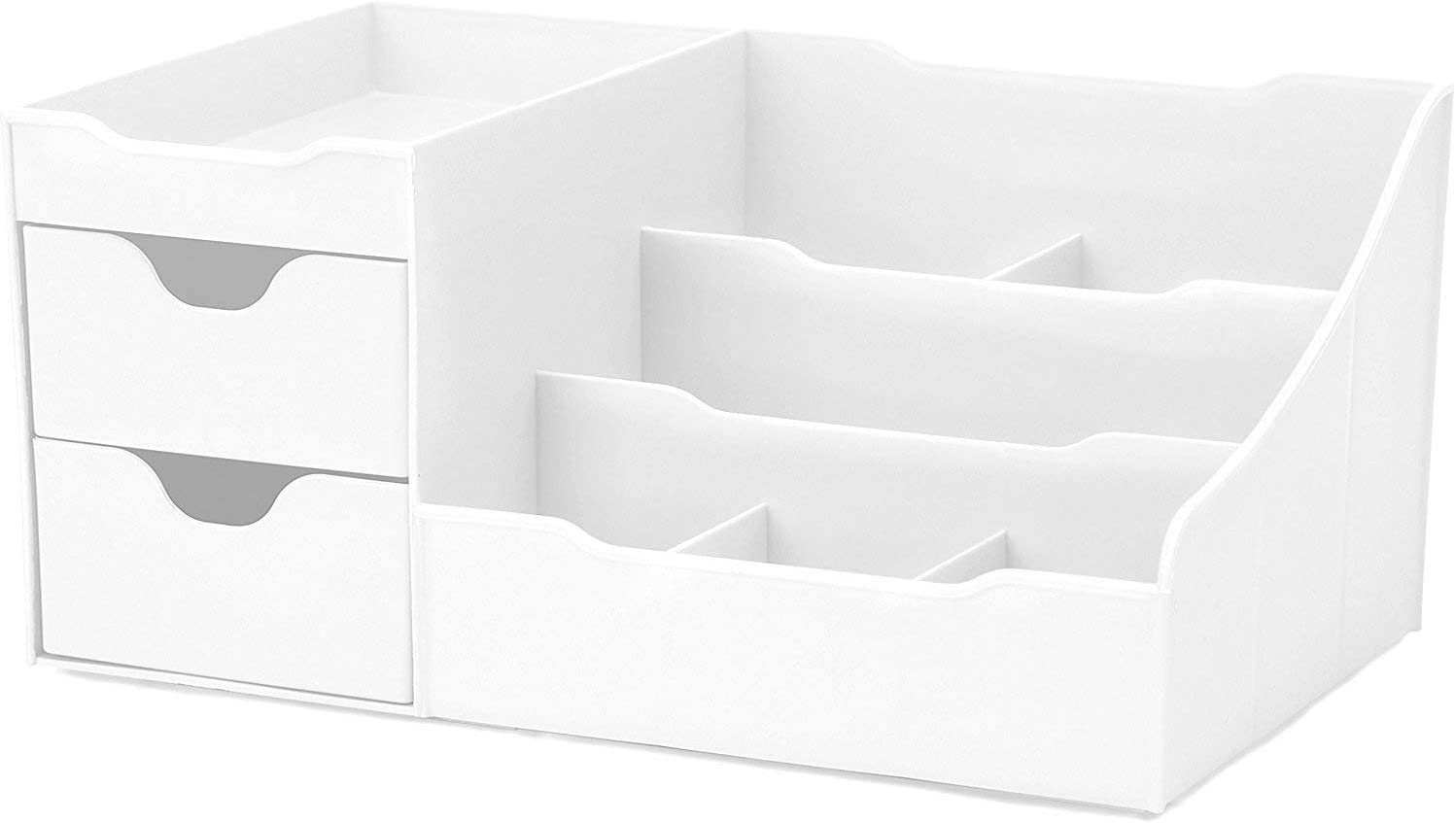 Uncluttered Designs Makeup Organizer With Drawers (2 drawer, White)